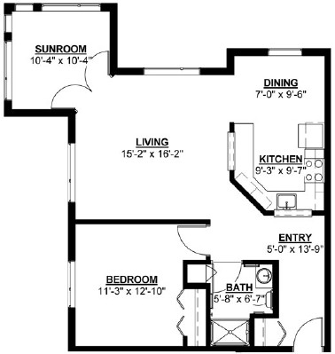 Mulberry (w/ Sunroom) - One Bedroom Floorplan