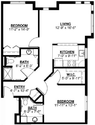 Poplar - Two Bedroom Floorplan