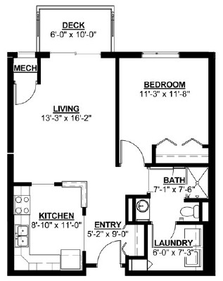 Ash - One Bedroom Floorplan