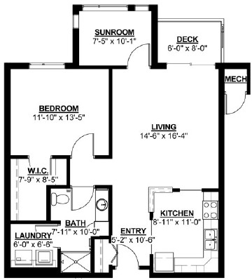 Douglas: Sunroom - One Bedroom Floorplan