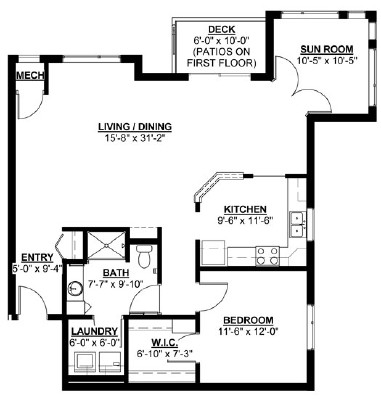 Hickory: Sunroom - One Bedroom Floorplan