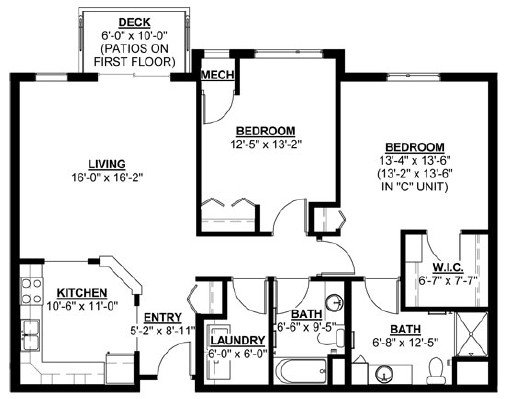 Spruce - Two Bedroom Floorplan