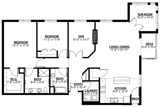 Willow: Sunroom - Two Bedroom Floorplan