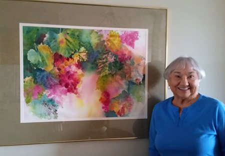 Photo of Marge Lyons with Artwork